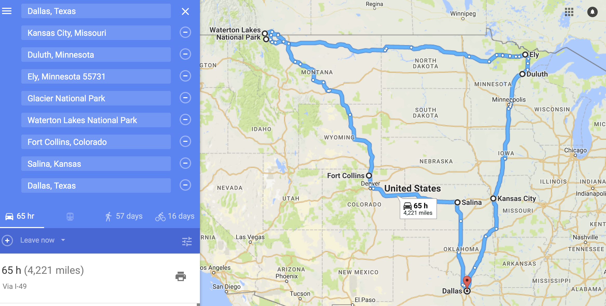 This is a close visual of the overall route of the trip. We had many day trips, of course, but google maps can only handle so much!