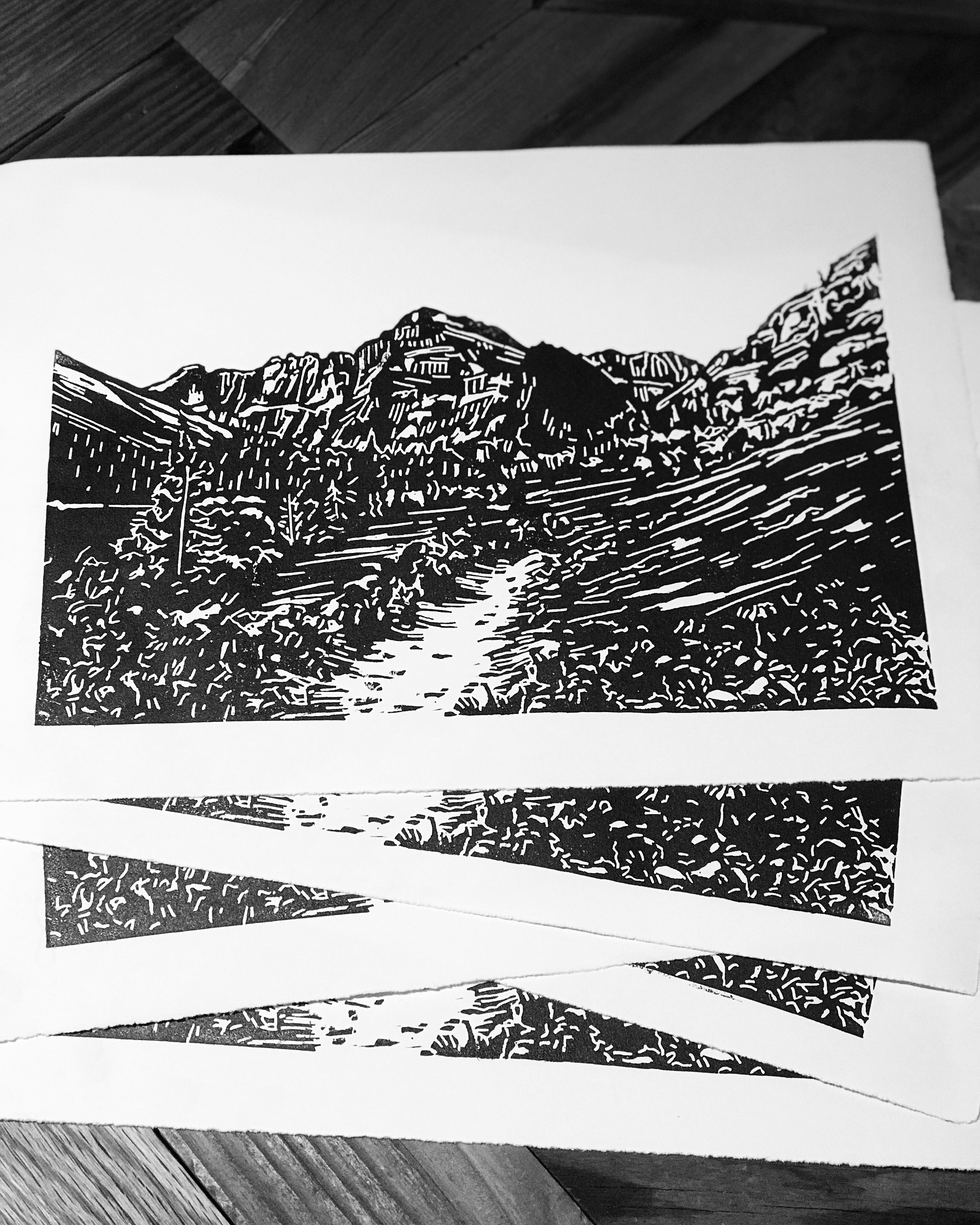 Grinnell Lake Trail print ready to be numbered and signed.