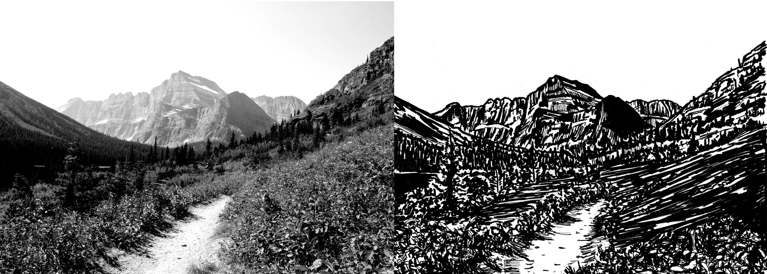 On the left is the photo I used for the print. I increased the black and white points to give more contrast. On the right is my finished ink drawing. I spend a lot of time on the drawing and treat it like its own piece of work too. This allows me to go into the carving process with a better grasp of the final  image.