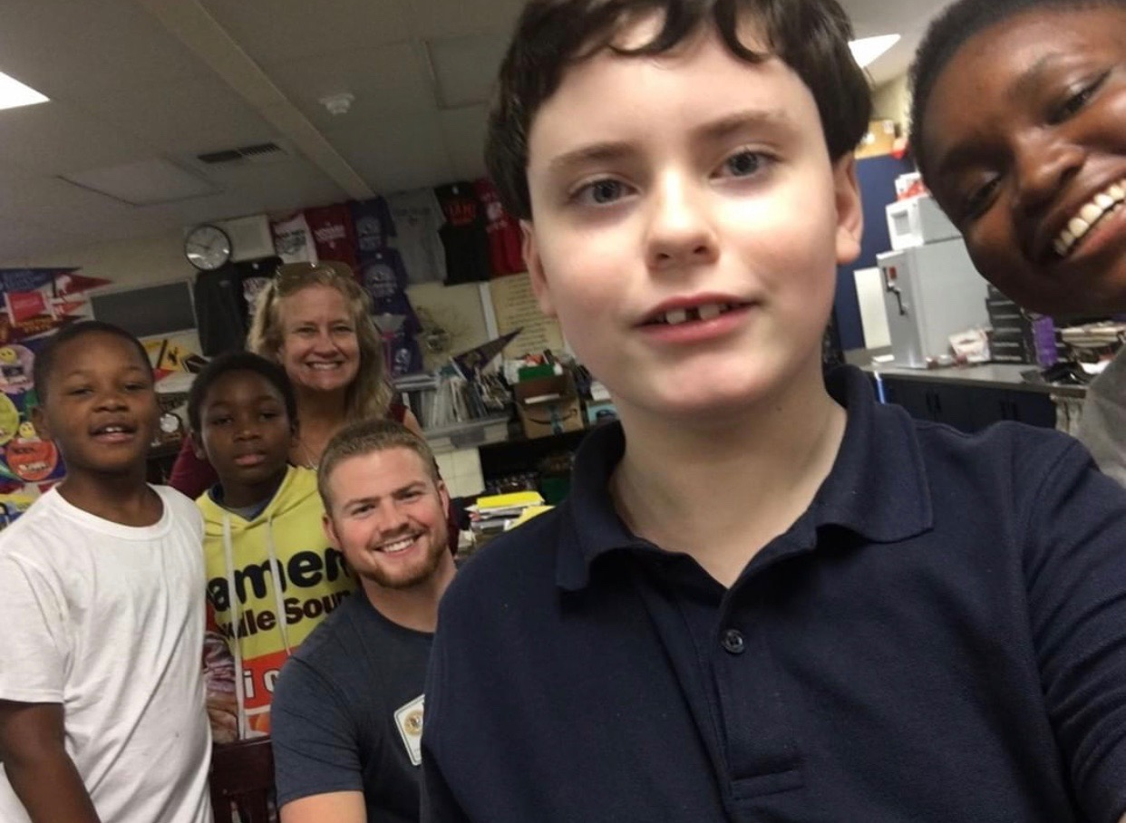 sharing selfies while Visiting woodlake elementary in Sacramento