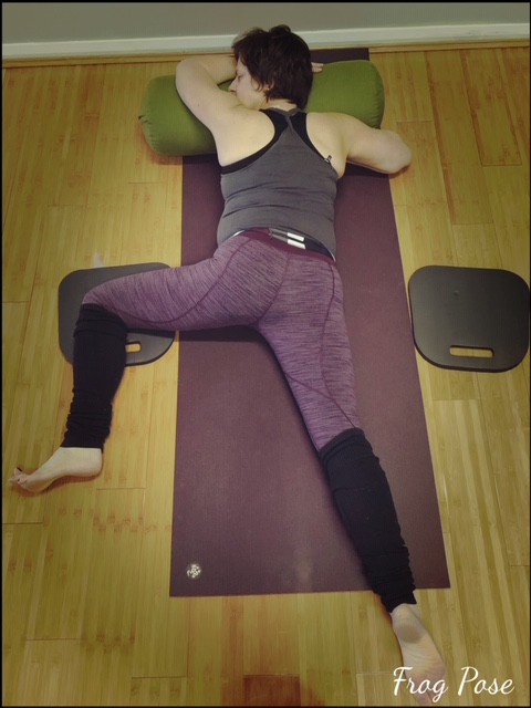 Supported half frog, using bolster practice one leg at a time.