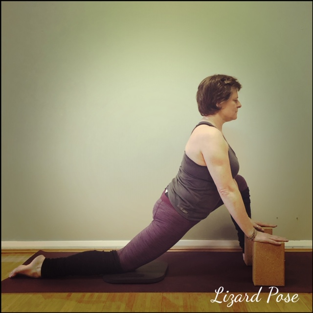 Support the back knee with a blanket and use blocks under the hands.