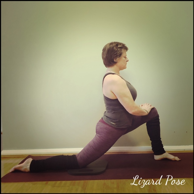 Stay upright placing hands on the front knee