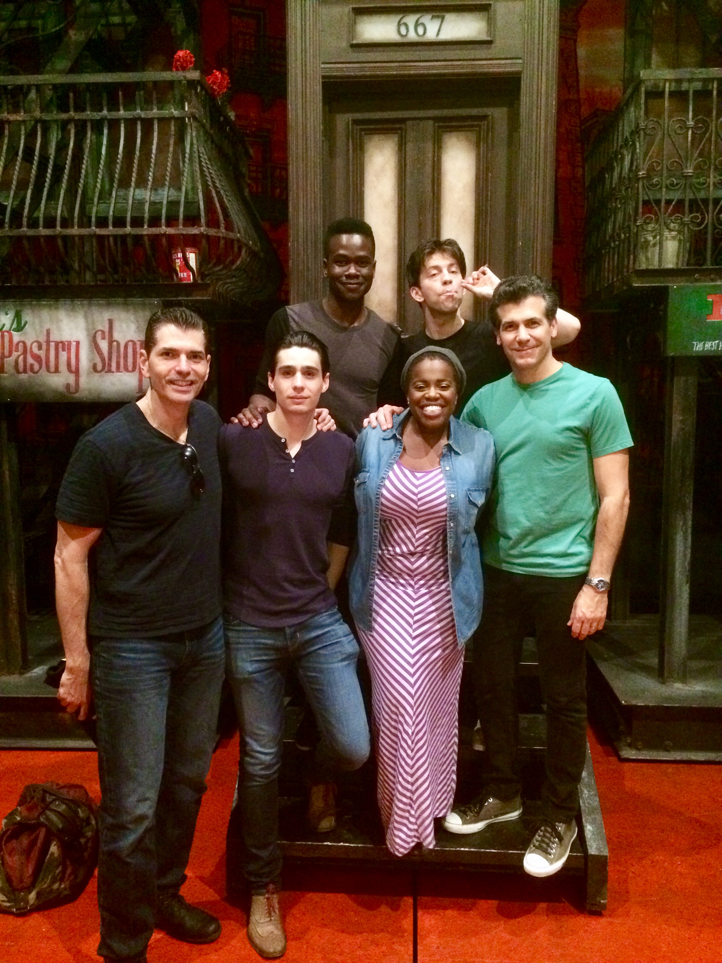 (L to R) Students  Joe Barbara ,  Bobby Conte Thornton ,  Bradley Gibson ,  Janelle McDermoth ,  Keith White , and  Joey Sorge  onstage at Broadway's A BRONX TALE