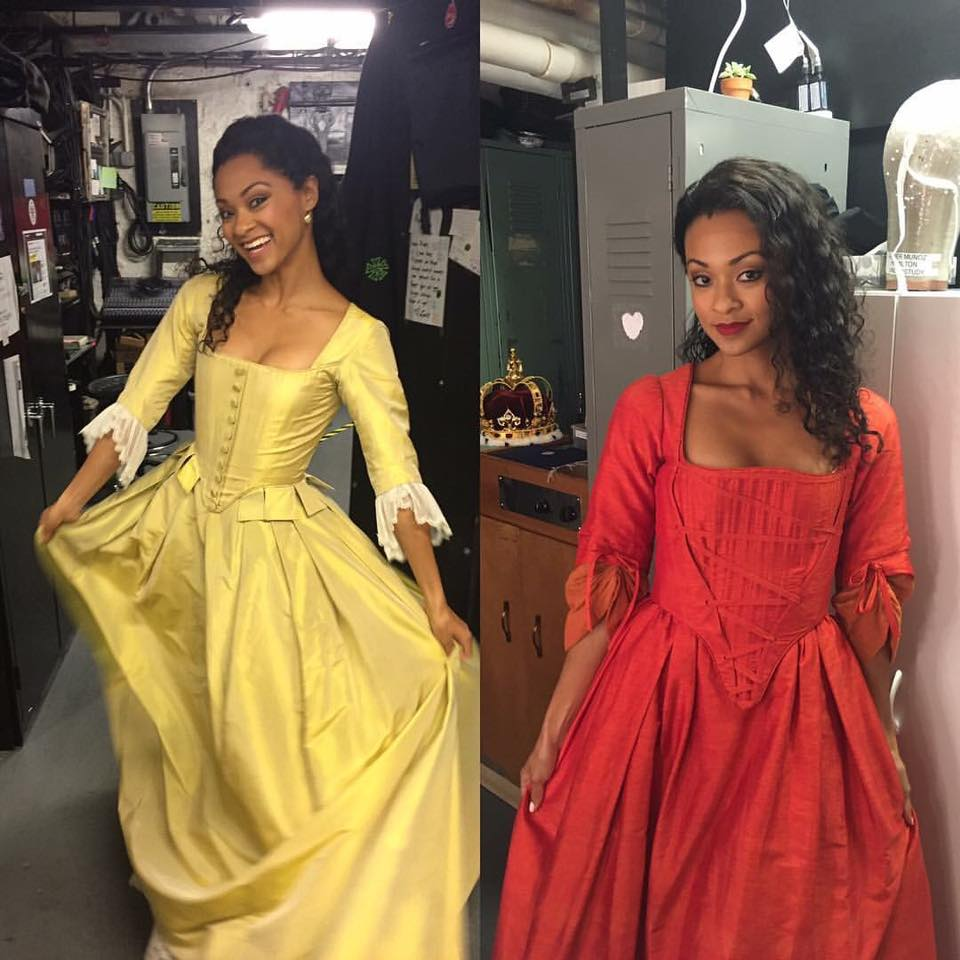 Student  Syndee Winters  as a couple of the Schuyler sisters backstage at the Richard Rodgers