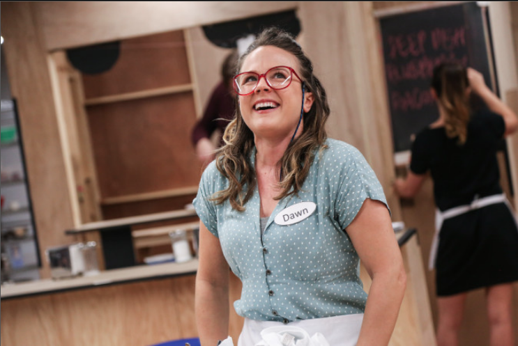 Lenne Klingaman  (Dawn) rehearsing for the 1st national tour of WAITRESS