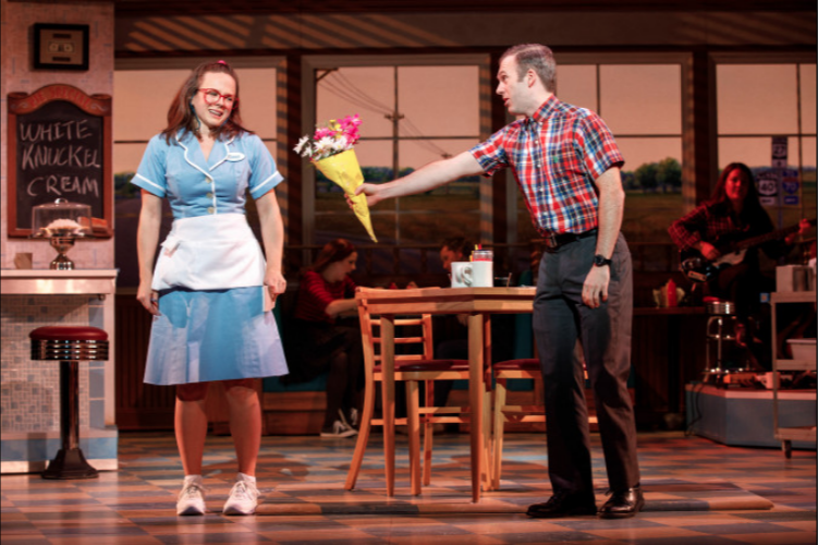 Students  Lenne Klingaman  (Dawn) and  Jeremy Morse  (Ogie) in the 1st National tour of WAITRESS