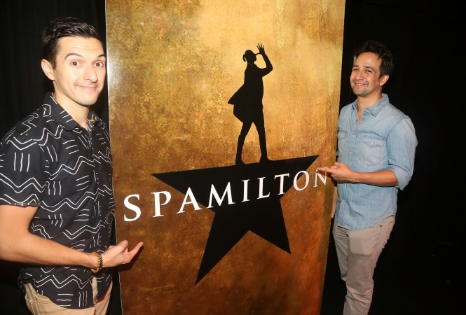 Dan Rosales  and the man he portrays in SPAMILTON!
