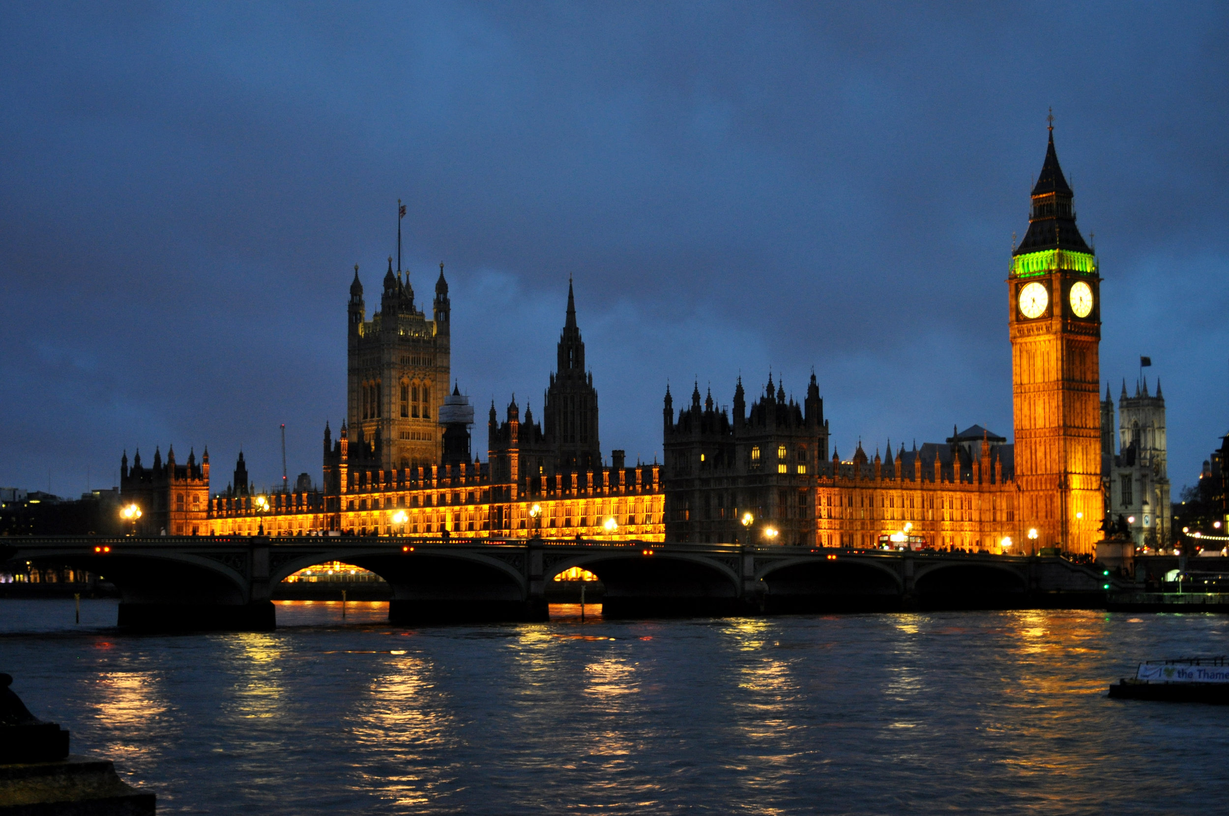Big Ben Clock Tower and the House of Parliament in London, England.