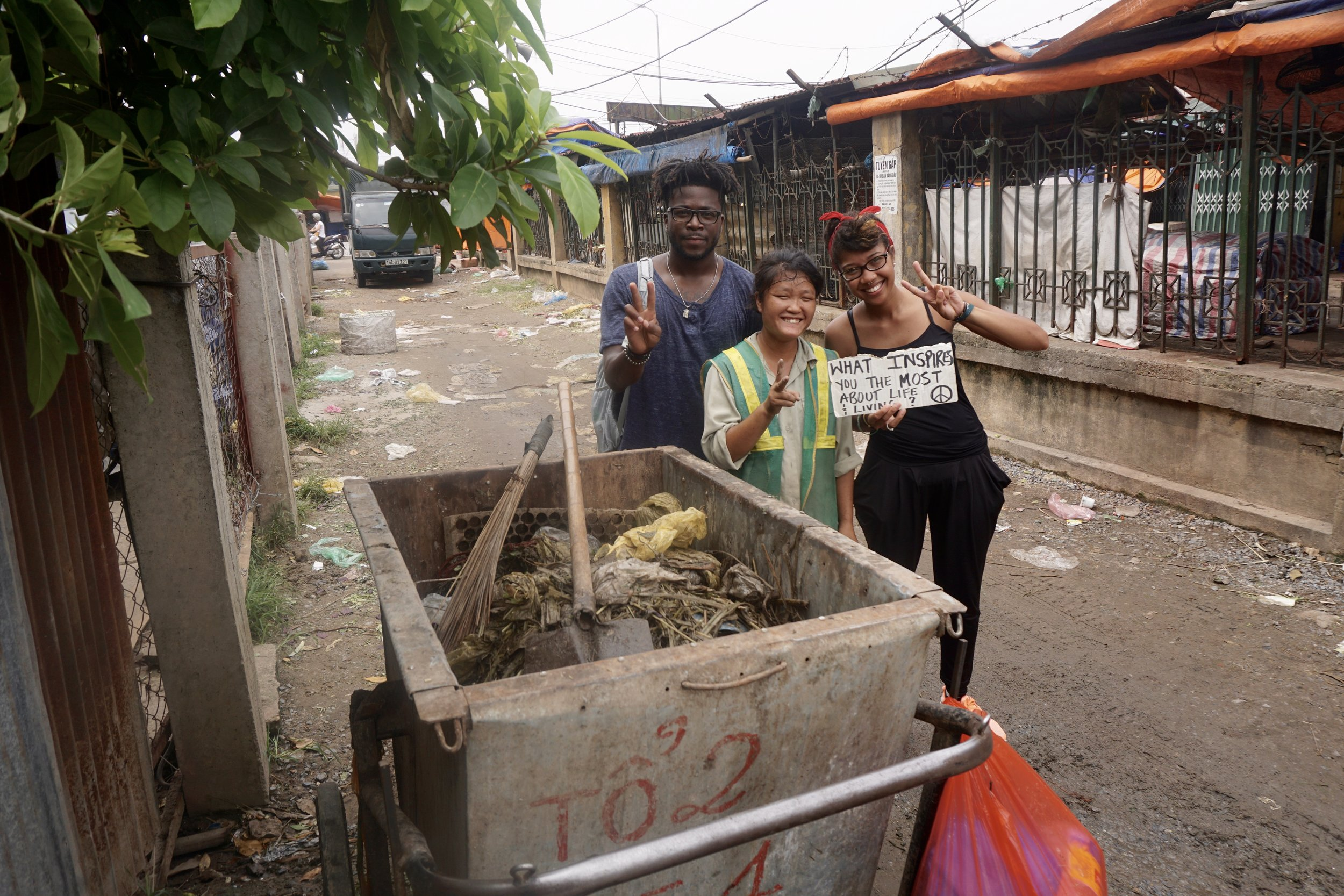 """From : Vietnam   Interview Location  : Hanoi, Vietnam  """" It's my own sweat from my work that makes me happy.I don't really stay up at night,I sleep like a dead person. Sometimes I work this job at night and sometimes in the during day. I also have another day job,at night I go to the market to pick up recycle bins.It keeps me busy and make a little more money... I don't really know what to advise cause I'm uneducated..."""""""