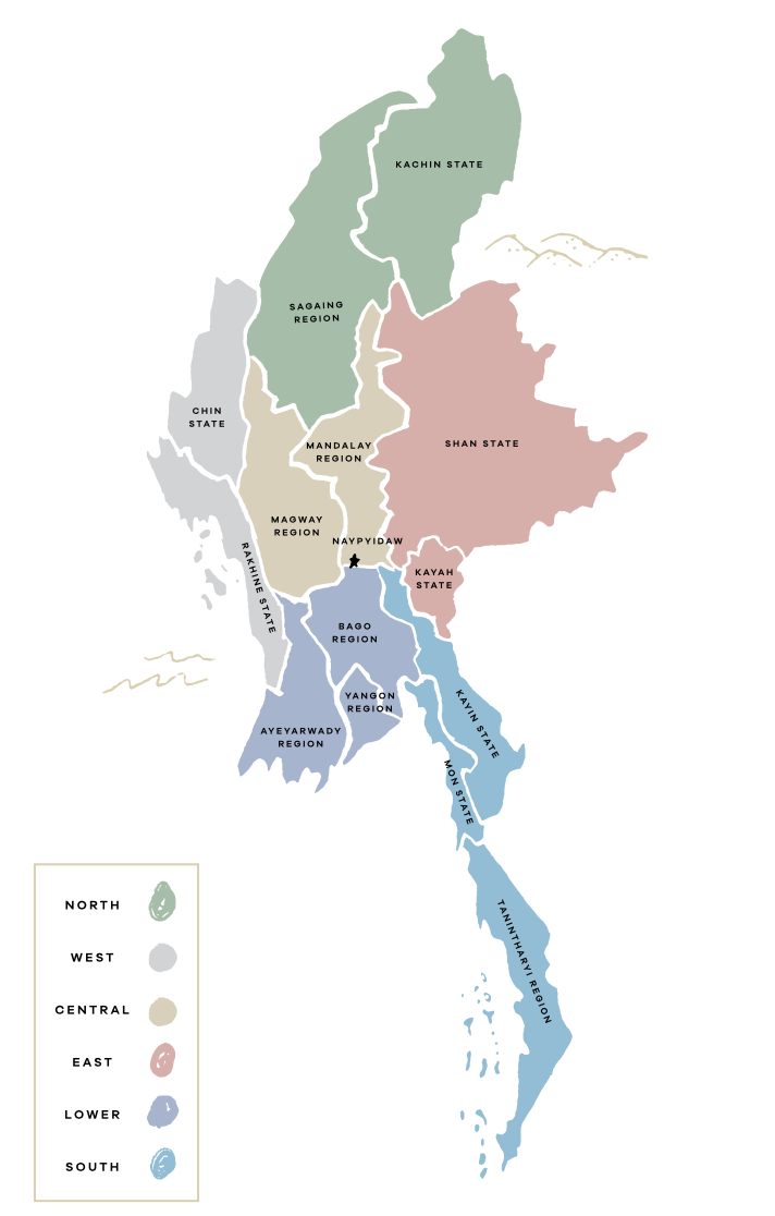 Myanmar Regions and States