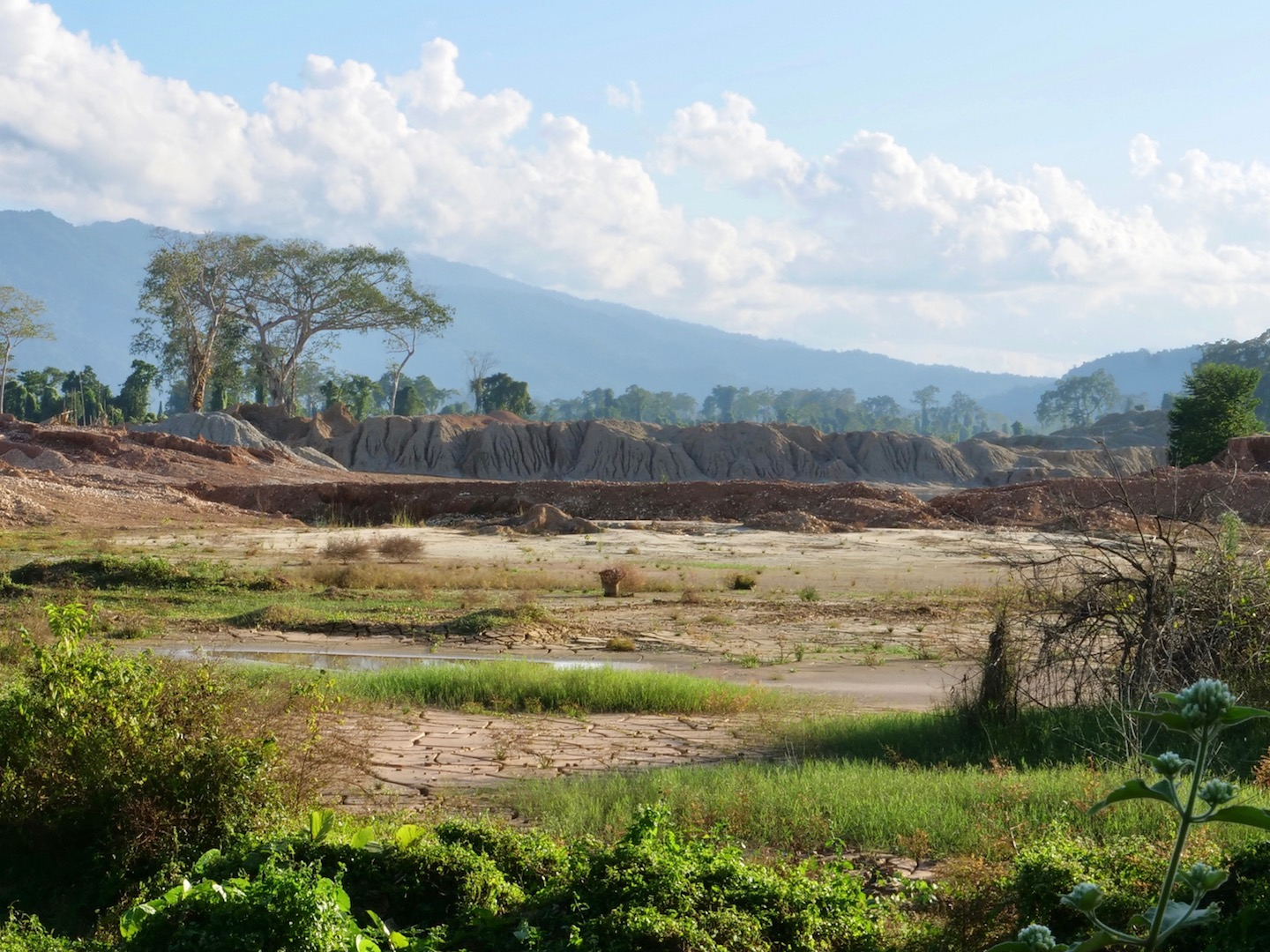 One of many mining fields that lay just beyond the main road hugging the western edge of Indawgyi Lake.