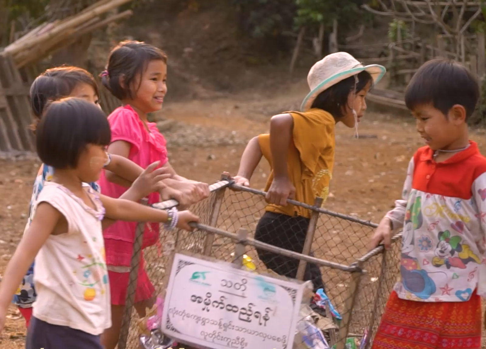 Children helping with the  plastic awareness campaign