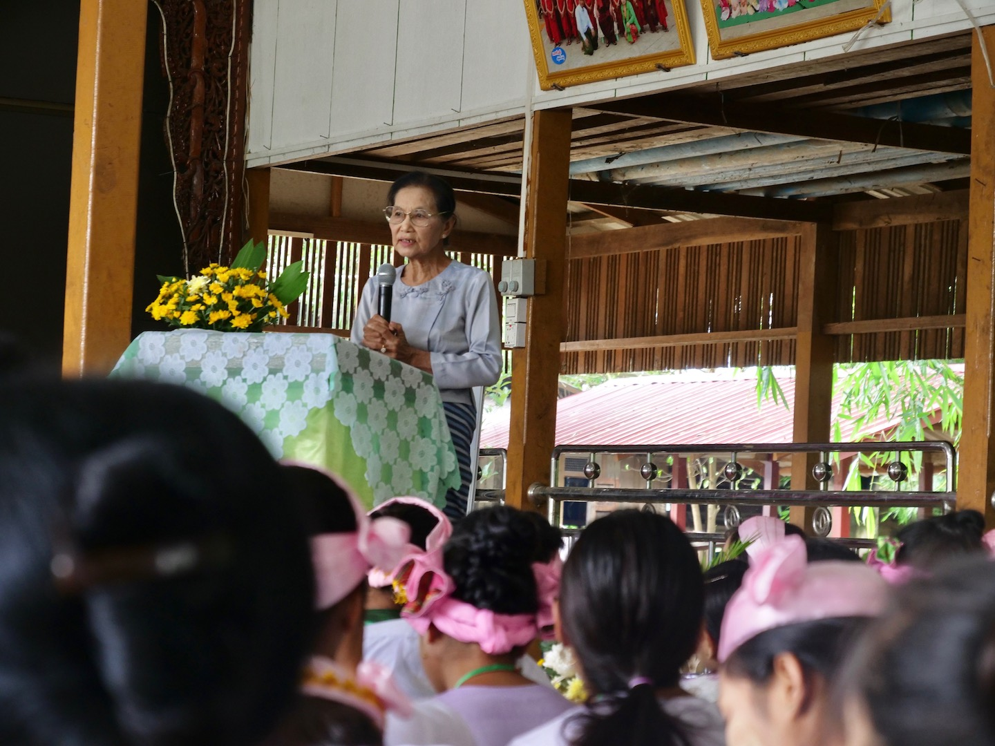 Daw Khin Pyone, a long-time advocate for Shan-ni culture and author of numerous Shan-ni educational texts, addressing the graduating class.