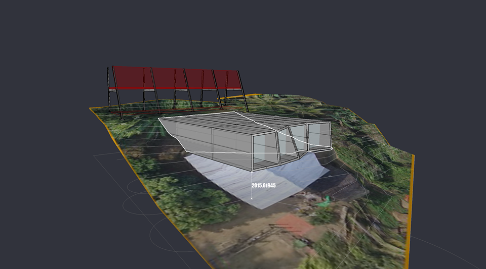 A computer rendering of the hotel reception (red) and 4 standard room (gray) design. The 6 private bungalows (not pictured) will be located on the right side of the property.