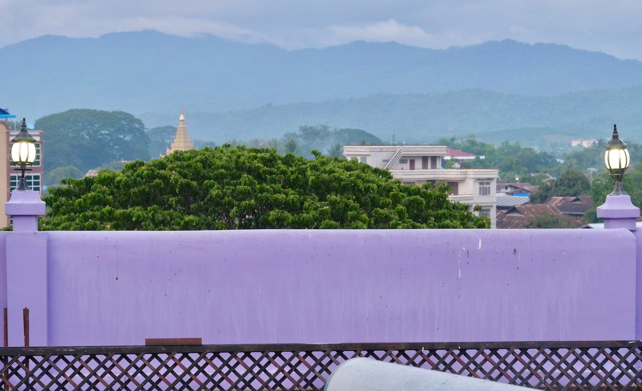 A view from A Shay Chan Hotel, a purple structure that is among the highest in Mohnyin.