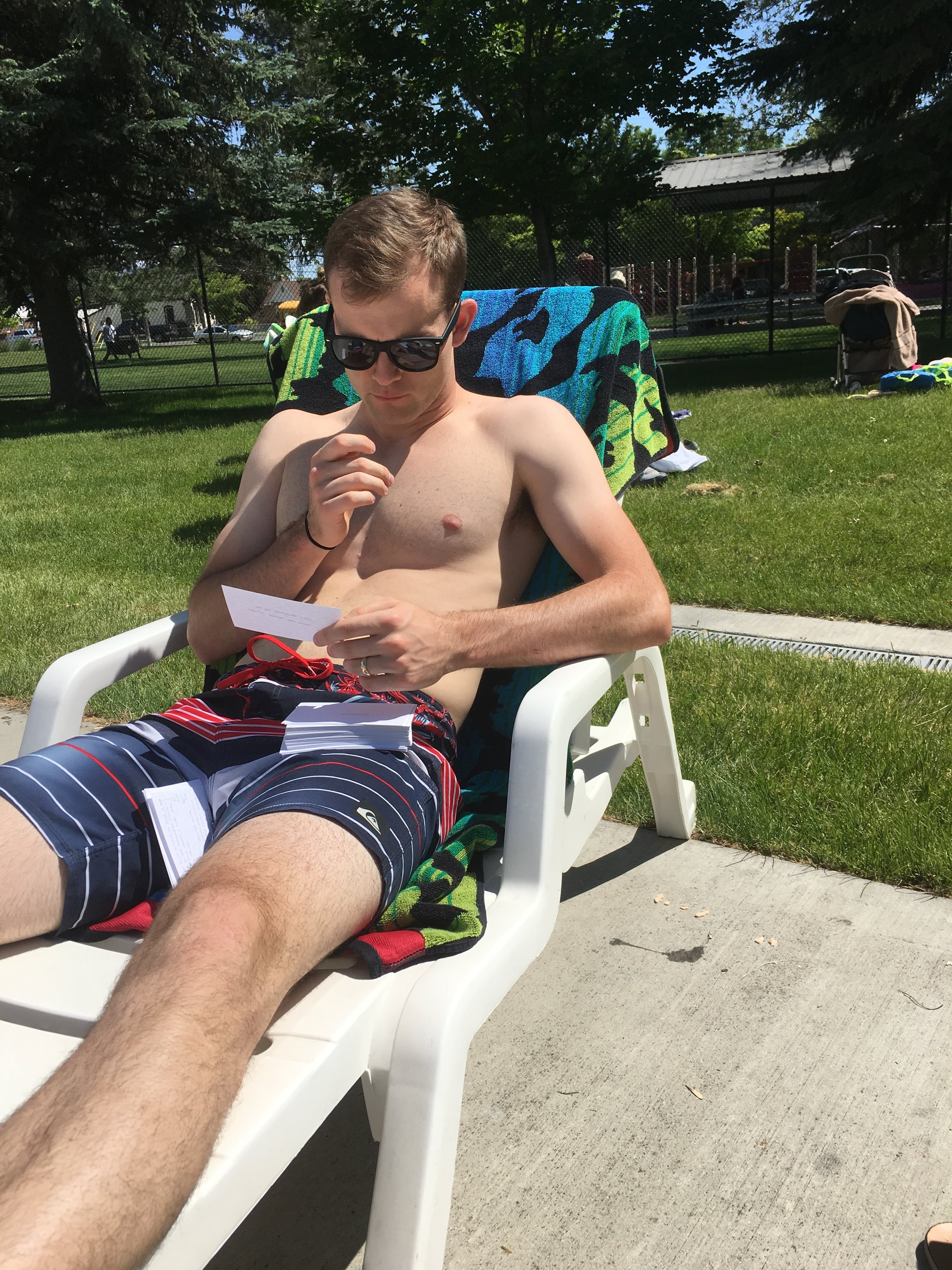 Clark studied for the DAT consistently everyday since January and he took his flashcards everywhere. We went to the Provo pool and studied. Well, his hard work did pay off and he did really well!! After the DAT is when our summer really started.