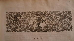 Frontispiece device, with cat