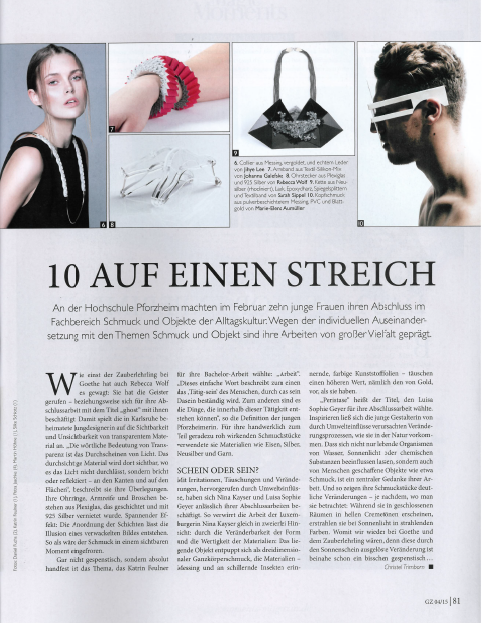 article about the 10 jewellery design graduates of Pforzheim University in GZ 4/2015