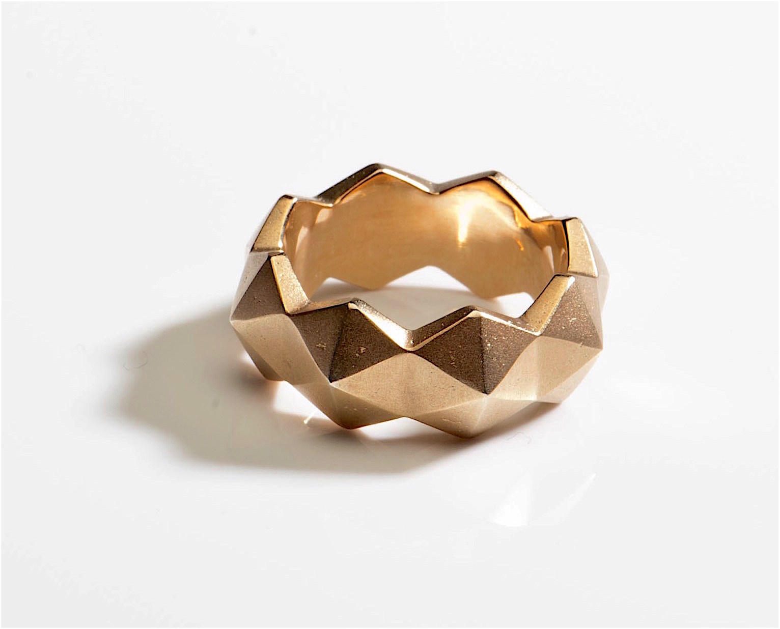 ring hexagon pyramid studs silver gold plated.jpg