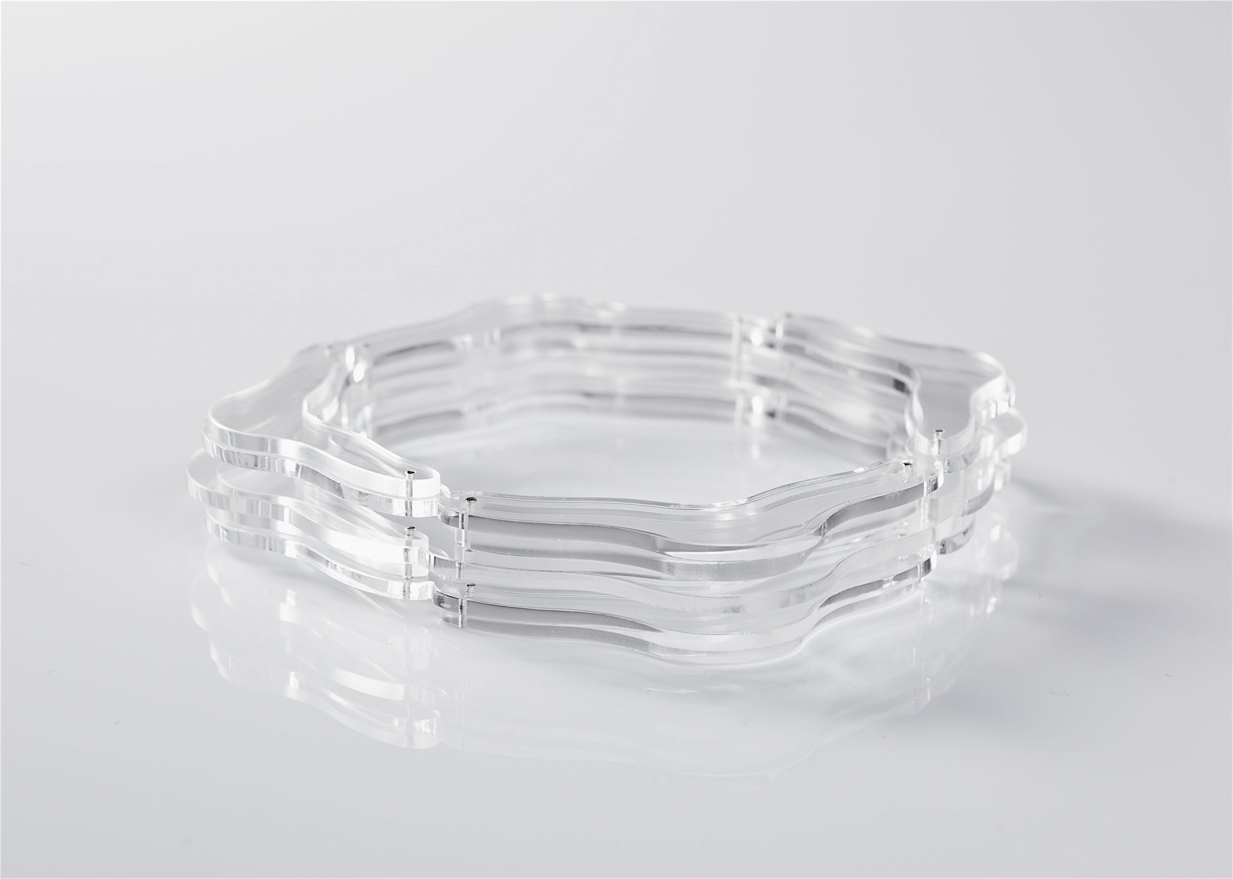 ghost bracelet transparent layers ribited silver.jpg