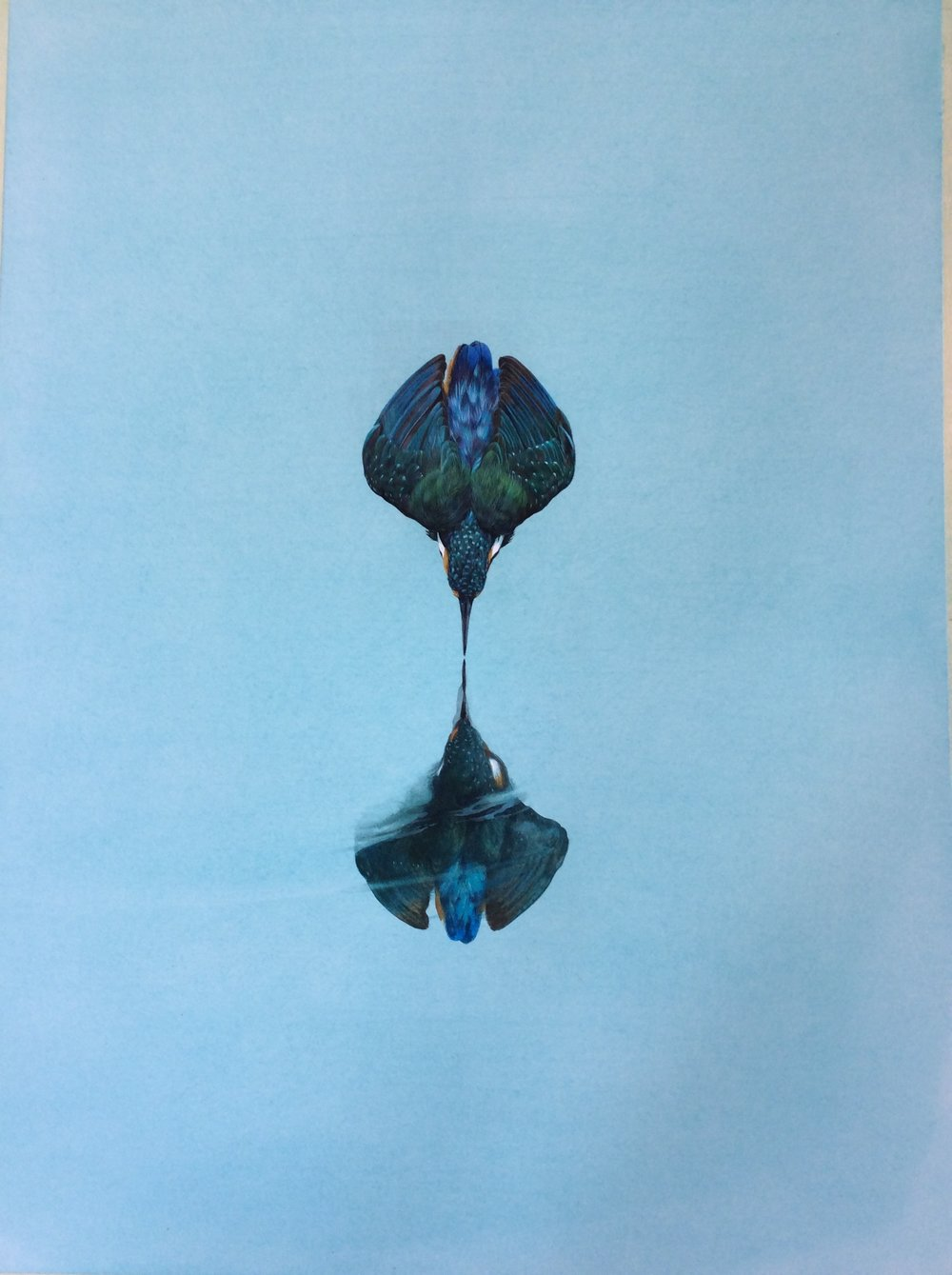 Reflection Turquoise. Watercolour. Watercolour and Gouache 24 x 18 ins / 61 x 45.7 cm Tim Hayward