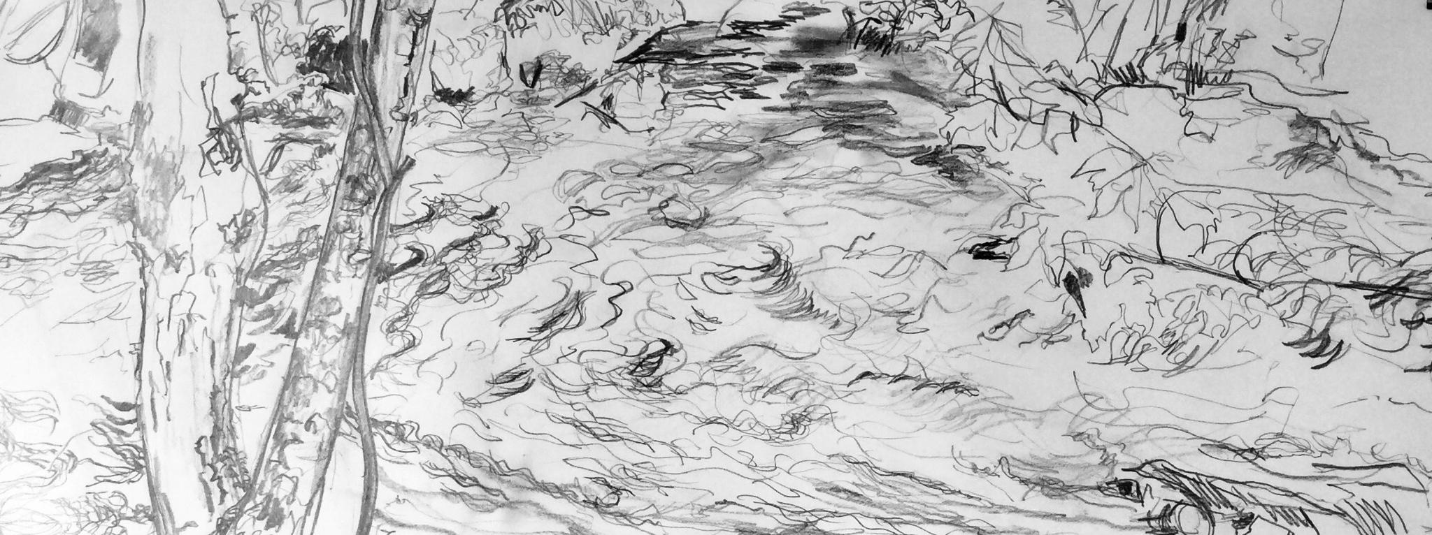 River Tone shadows. Graphite. 27x75cm. Louise Baker 2019
