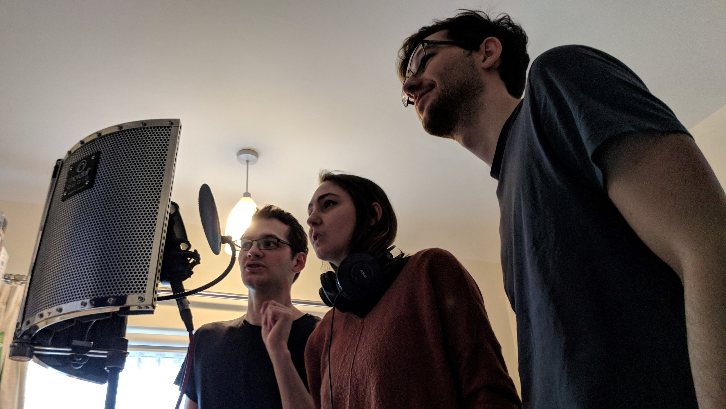 Andrej, Lola and Stefan Panić during a voice acting session