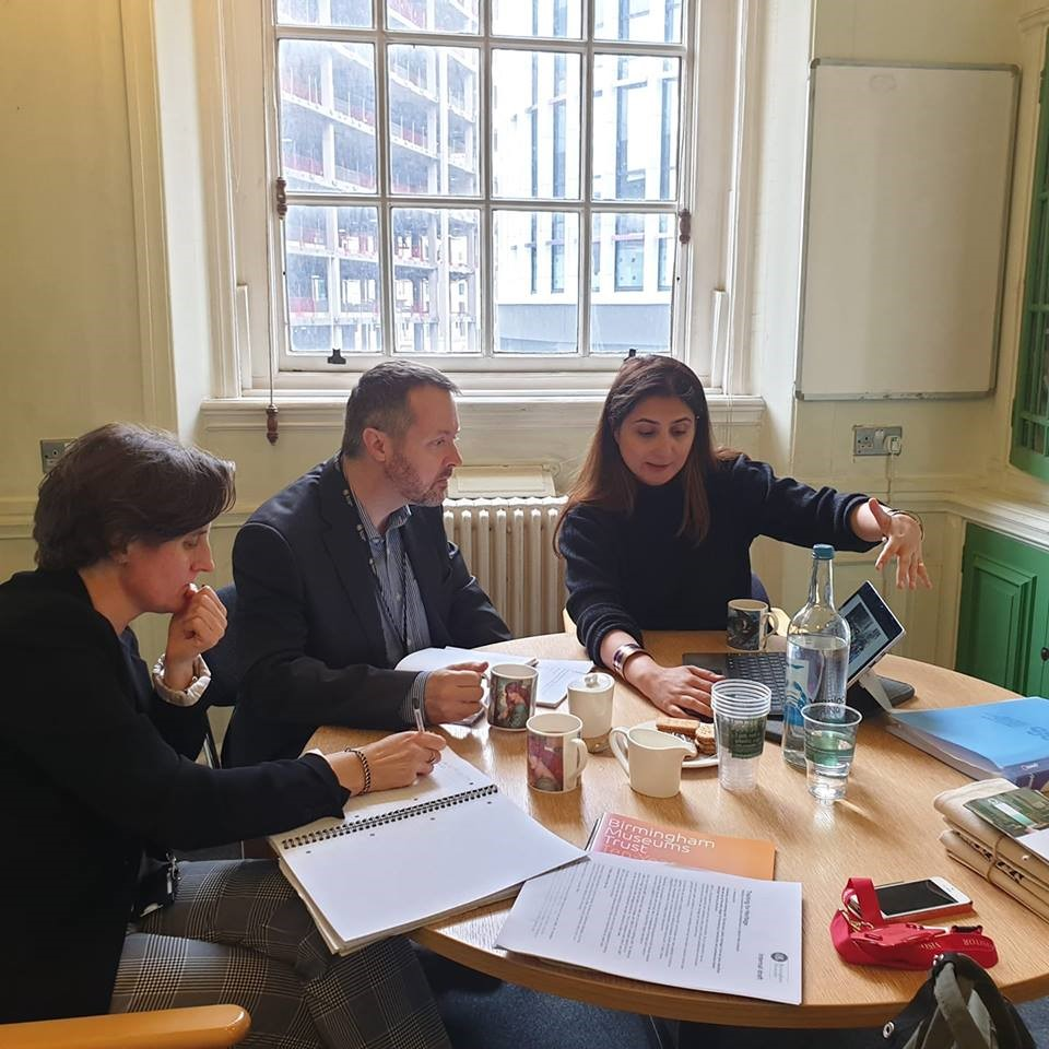 Figure 5: Marvi Mazhar meeting with Rebecca Bridgeman and Tobly Watly of Birmingham Museum and Arts Gallery discussing cultural management and research methodologies practiced to connect people and play an impactful role in the creative playground.