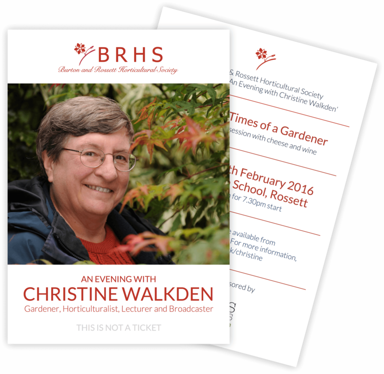 Leaflet for 2016 Special Event (featuring Christine Walkden)