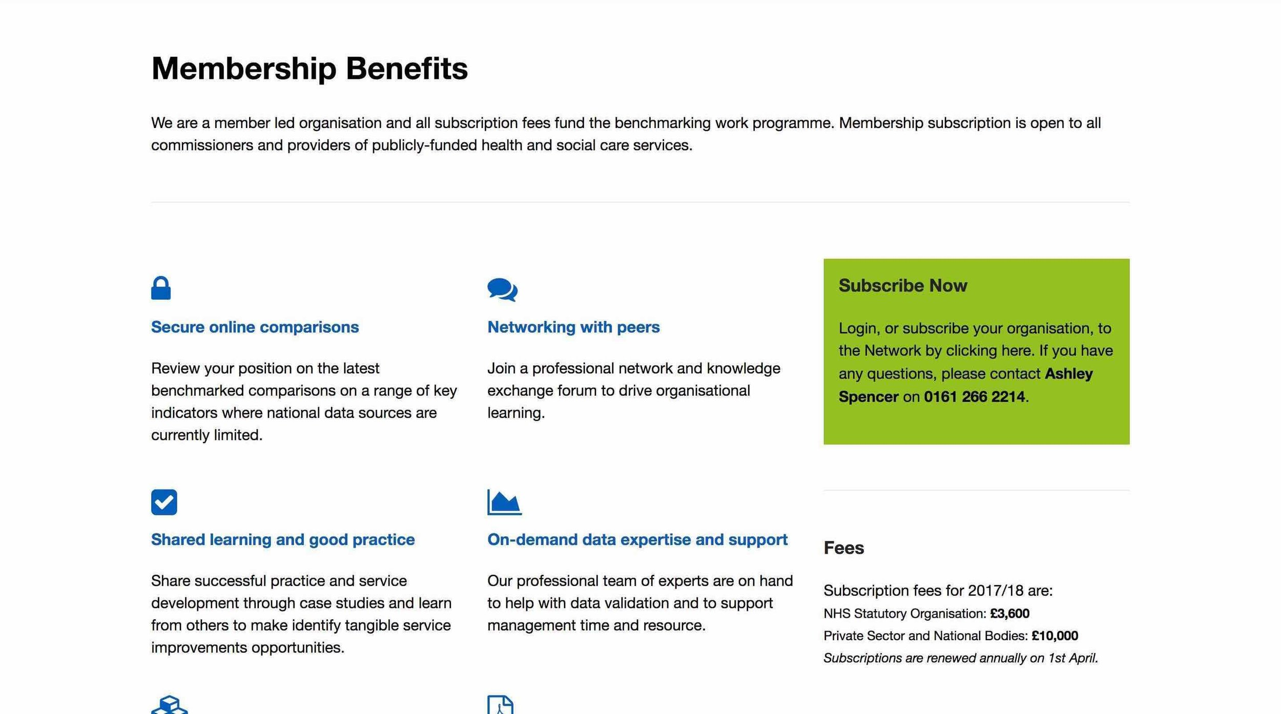 NHS Benchmarking Network: Membership Page