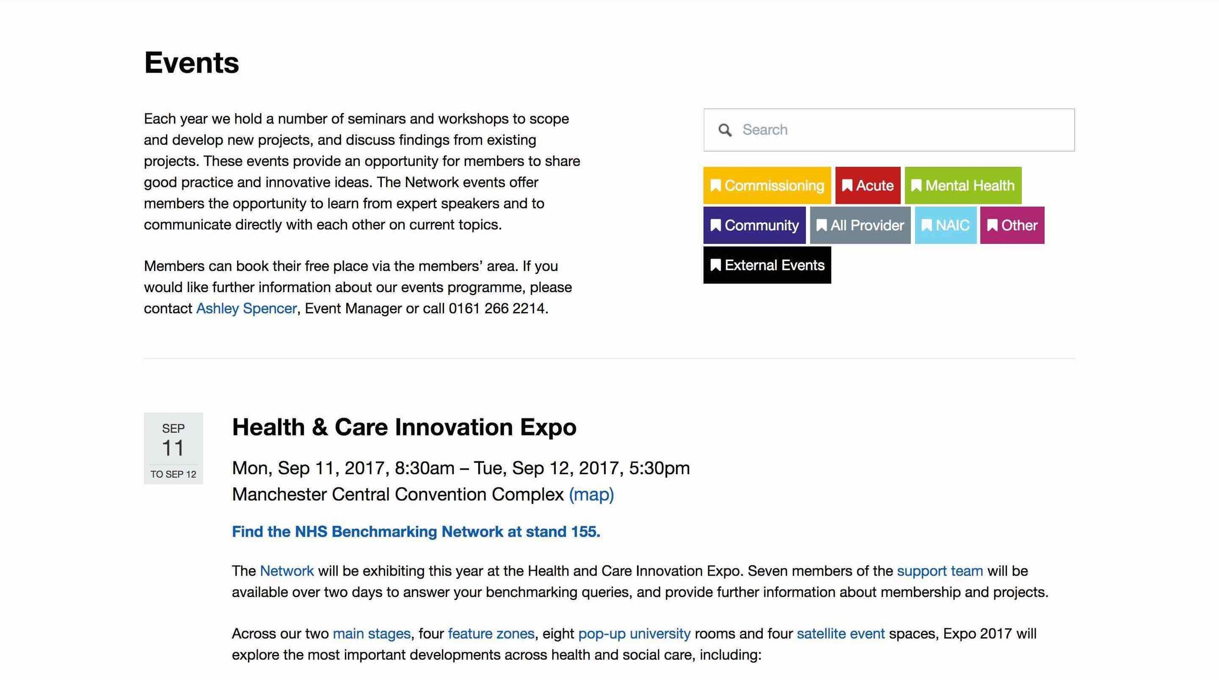 NHS Benchmarking Network: Events Page