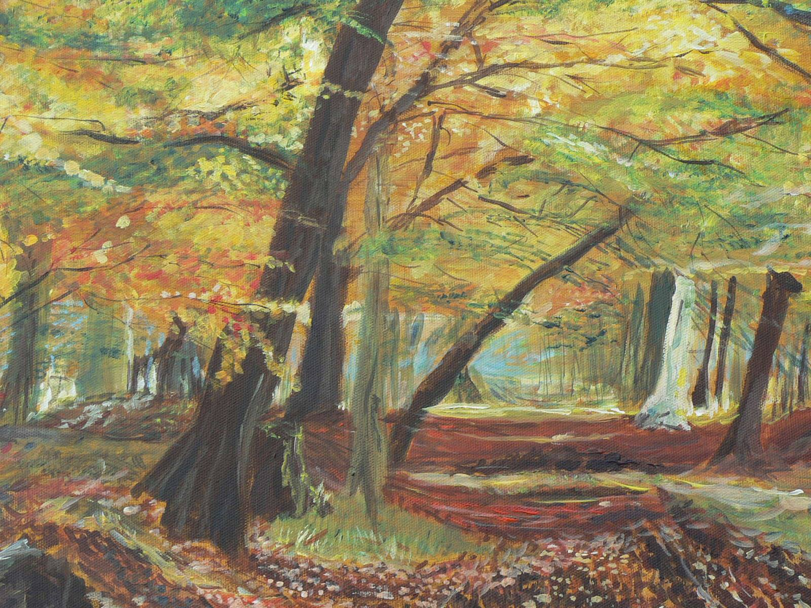 "Through the eyes of an artist - ""Autumn Beech Wood"" by Jane Vellender (www.whenartmetcloth.com)"