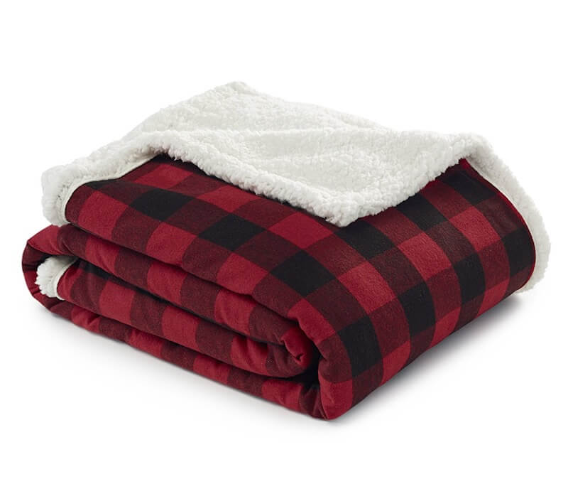 Plaid Flannel Throw with Sherpa Lining