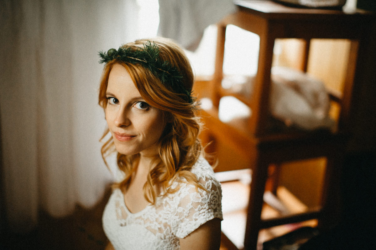 portrait of a a beautiful ginger bride