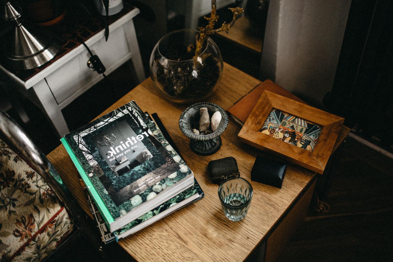 photos in frames in bride's bedroom