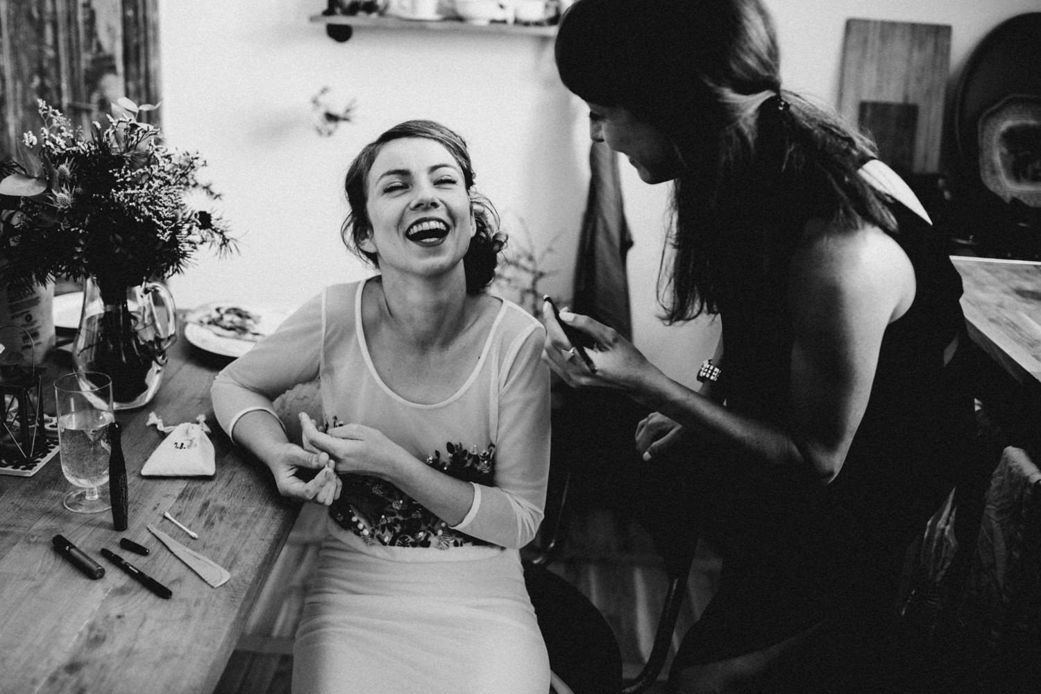 bride and her made of honor