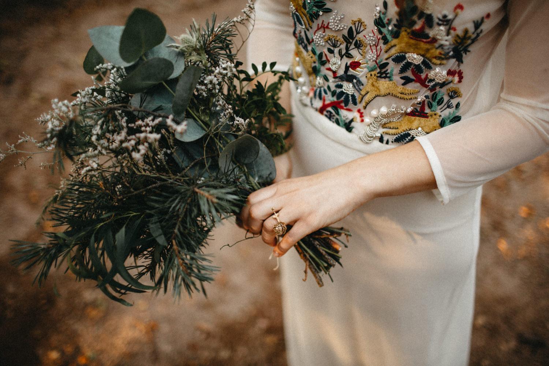 handmade details - ring, bouquet and wedding dress