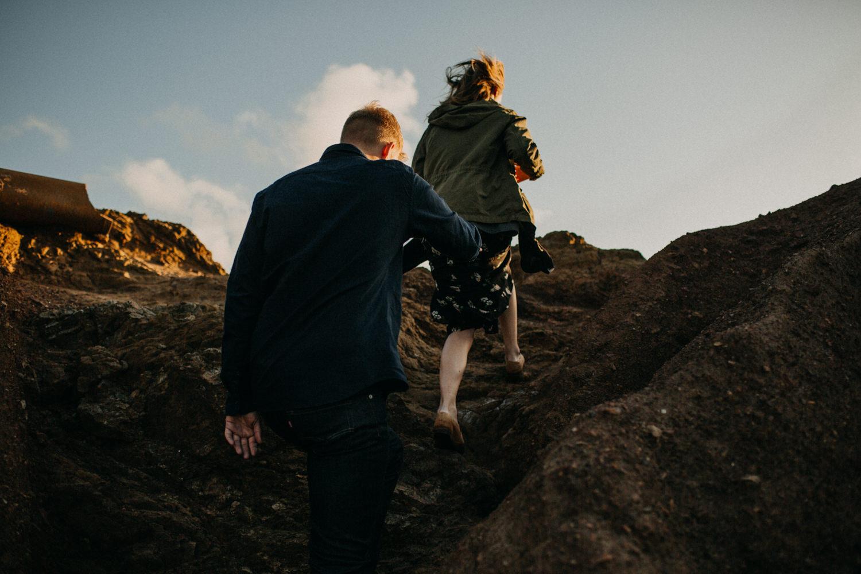 hiking cliffs on the coast