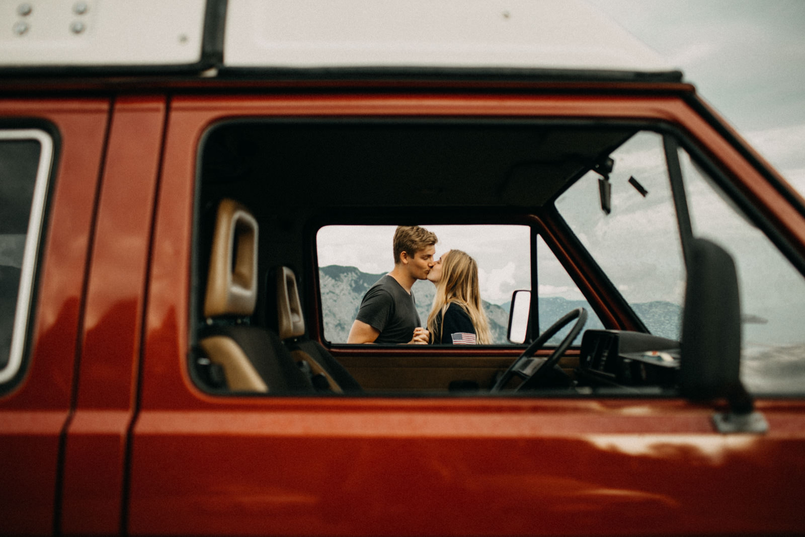 looking through a vw bus