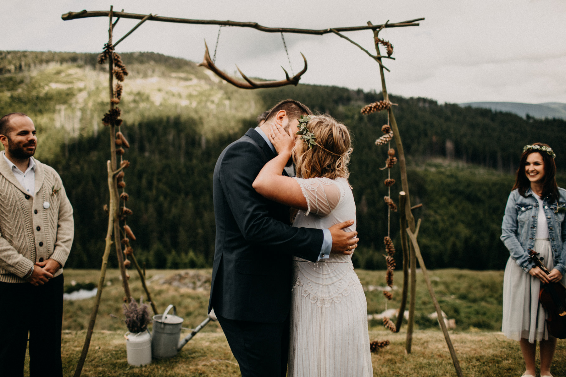 first kiss in front of the mountain
