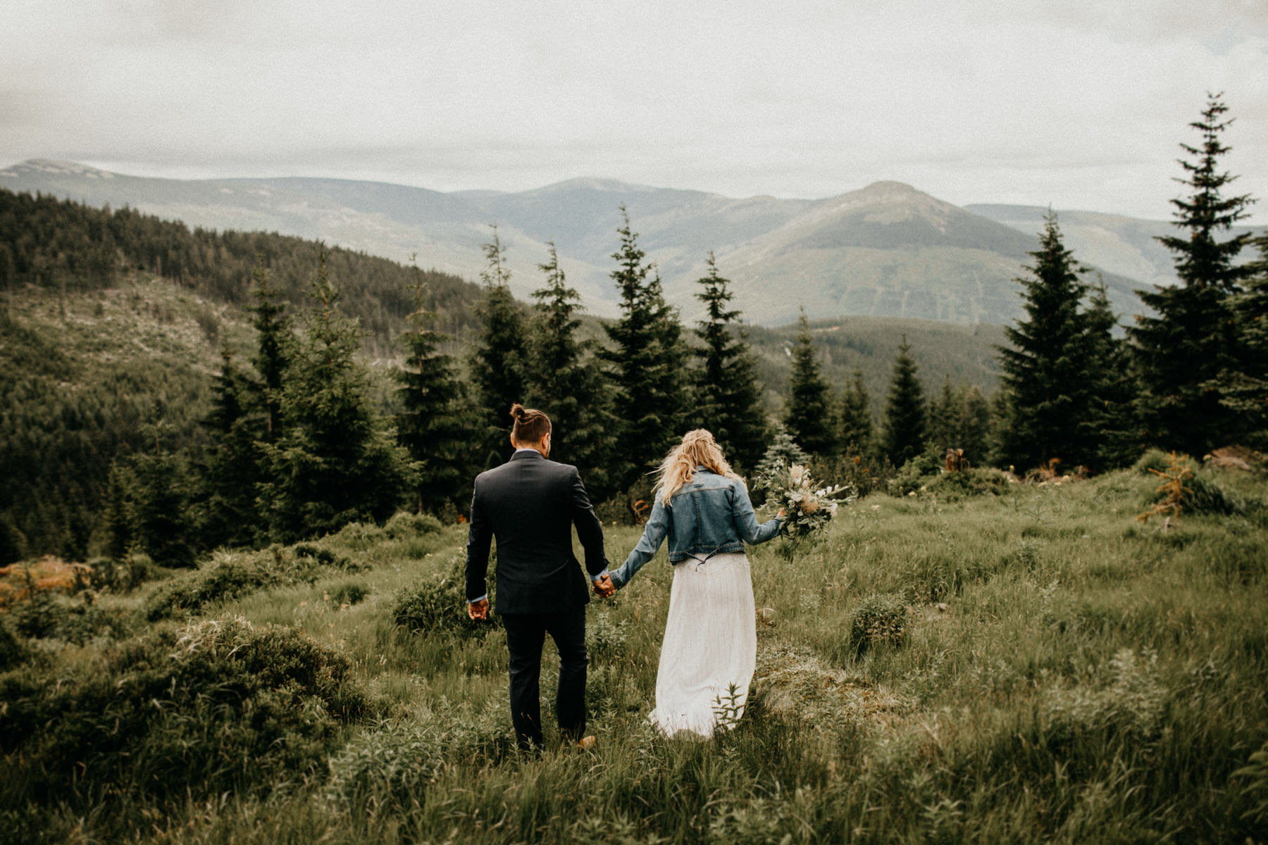 epic mountain wedding portrait