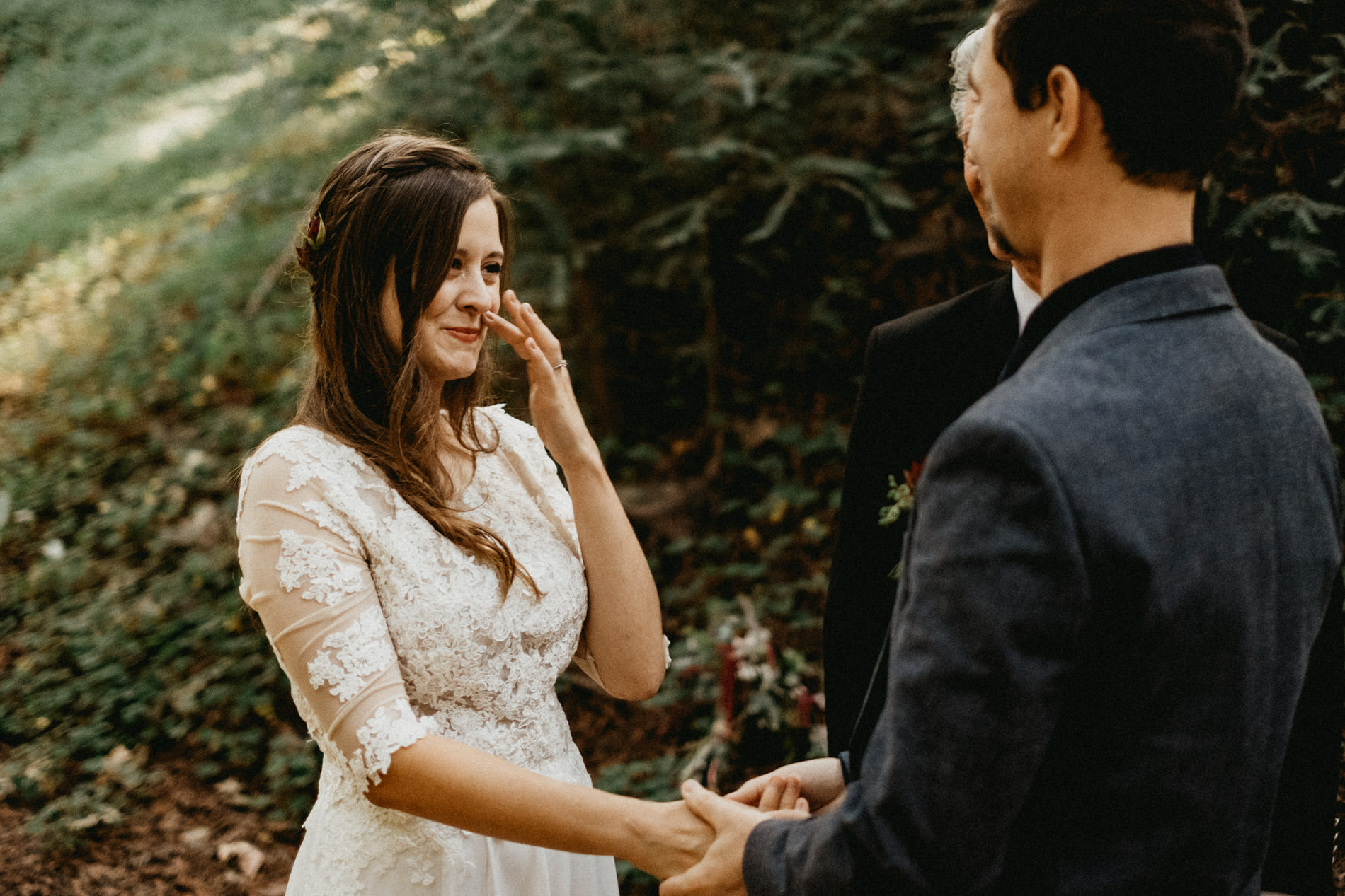 Eloping in the forest getting emotional