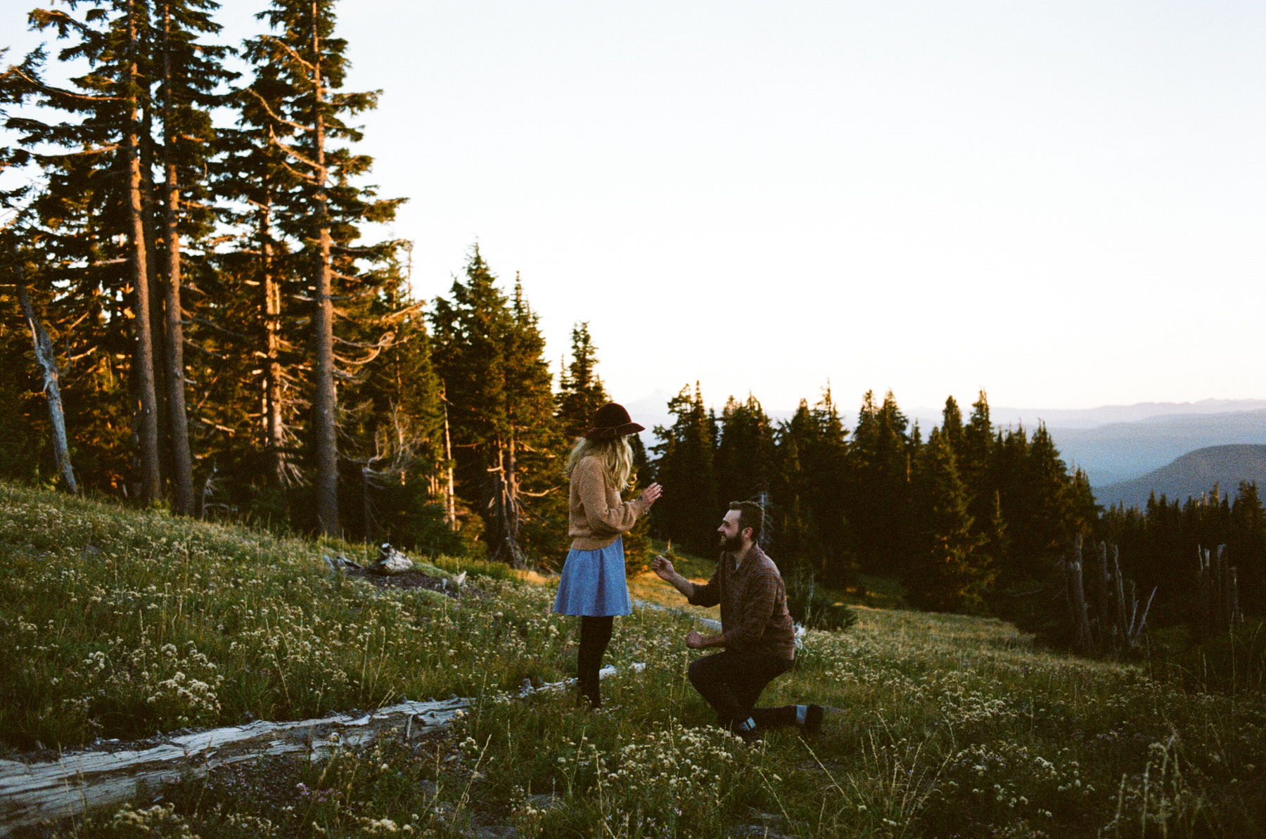 Mt. Hood proposal, the guy took a knee!