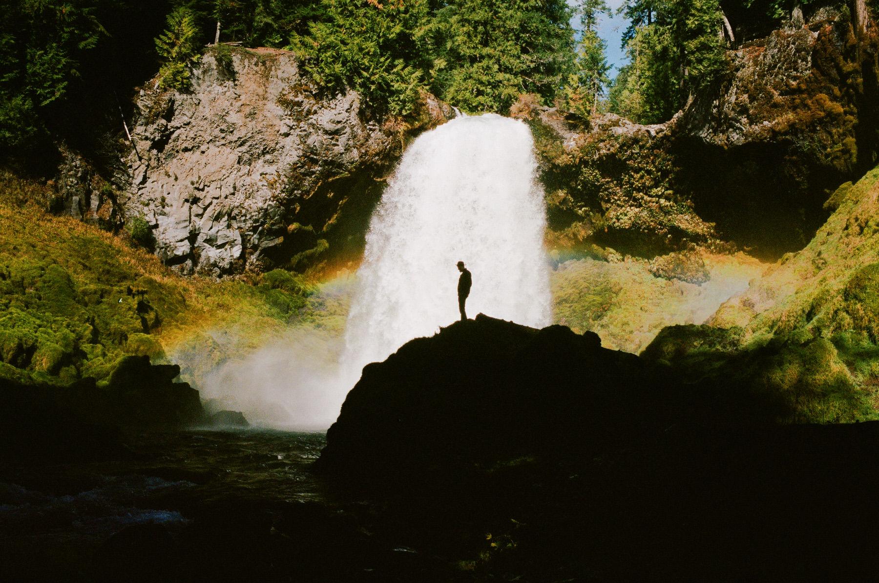 waterfall in oregon shot on film Leica