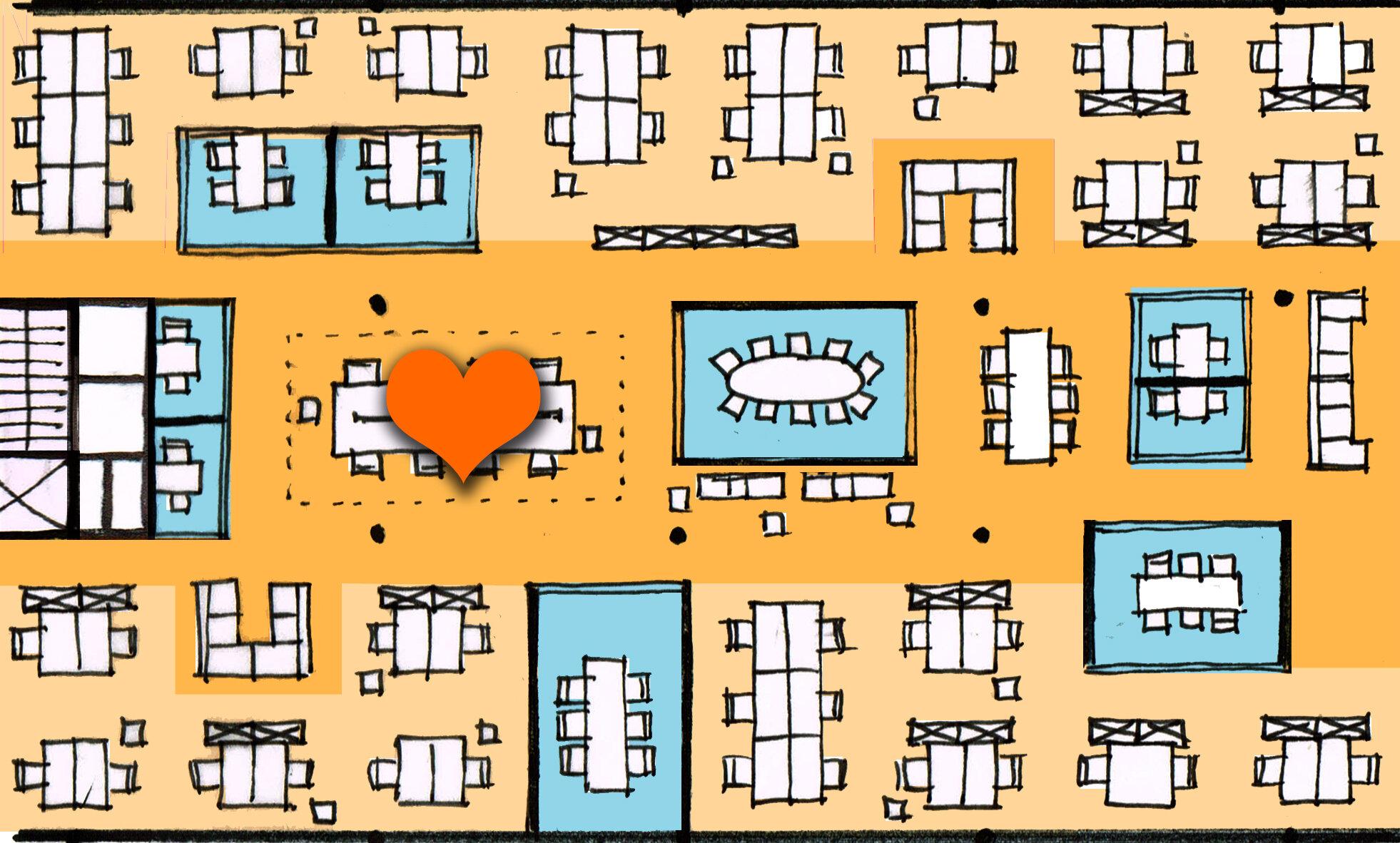 2. Concept - In fase 2 bedenken wij voor jullie organisatie een uniek werkplekconcept. In dit concept komen vorm en functie samen. We bedenken een functionele indeling voor het kantoor en leggen de look&feel vast in moodboards, een materialenbord en een conceptplattegrond. Na goedkeuring van het concept, vertalen we dit in een 3D model zodat jullie alvast een uniek kijkje kunnen gaan nemen in jullie nieuwe kantoor! Aan het eind van deze fase wordt ook een budgetraming gemaakt.