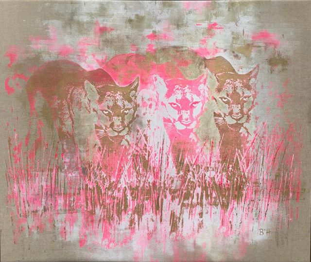"""Pink Panthers"". My new painting at MD Anderson Cancer Hospital #Barbara Hinesart.com #breastcancerawareness #mdanderson #silkscreens #houstonartscene #uofhcougers #"