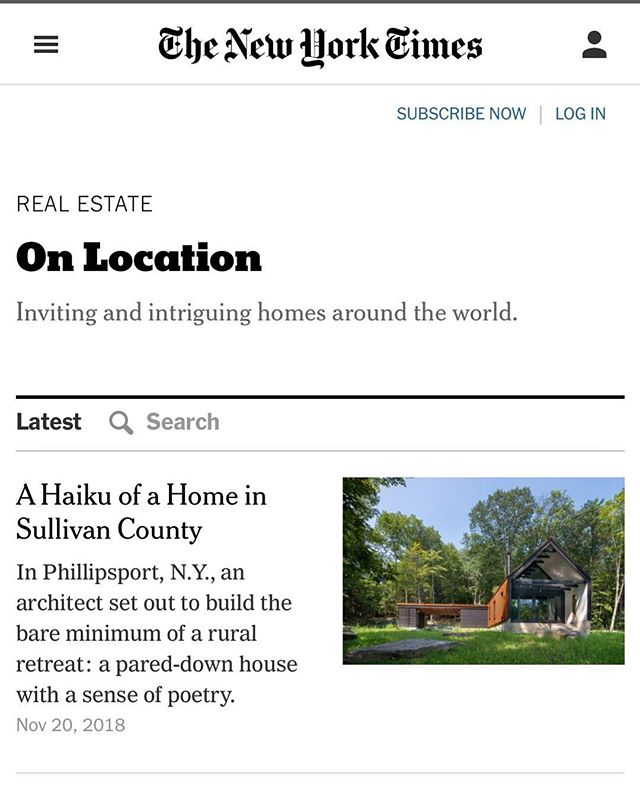 Very excited that our cabin is being featured in the New York Times !  Please check it out - the article is online today, and will be in print this Sunday !! #pondhouse #moderncabin #upstatenewyork #catskillscabin #catskills