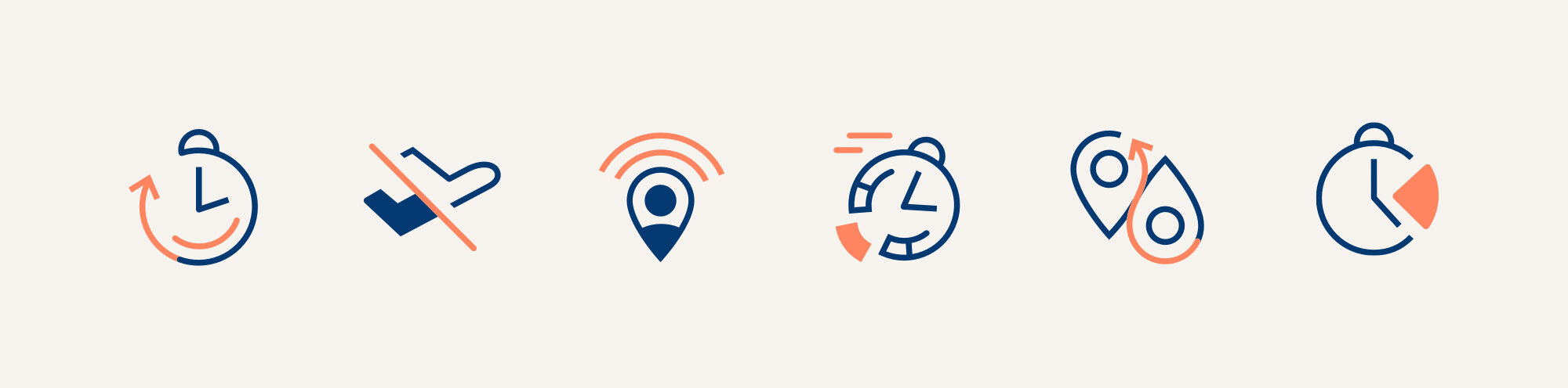 Werk is built on the idea that flexibility is more nuanced than just remote work. These are icons for the 6 types of flexibility at the core of the identity.