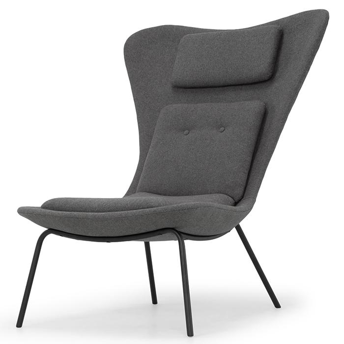 "BARLOW - Fossil wool grey. matte black frame35 x 36¼ x 44"""